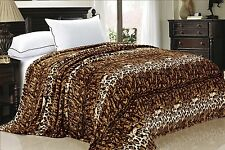 BNF HOME Animal Printed Flannel Fleece Blanket w/ Zebra Leopard Snake Croc
