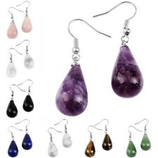 Amethyst Opal Agate Gemstone Teardrop Bead Dangle Chain Hook Ear Earring Jewelry