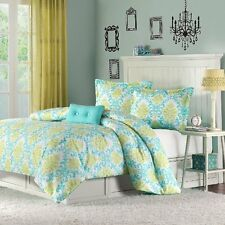 Beautiful & Soft Spring Color Teal Prints 4-PC Comforter Set Twin Full/Queen NEW