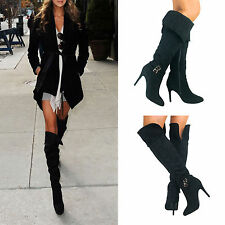 Womens Ladies New Black Stiletto Knee High Sexy Fetish Zip Thigh Boots Size