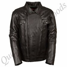 MEN GENUINE LEATHER JACKET BIKER BLUF ROCK PUNK DOUBLE BREASTED SHIRT COLLAR