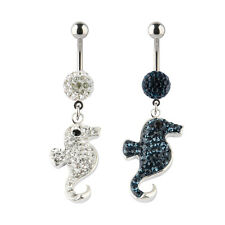 14G Swarovski Elements Crystal Seahorse Charm Dangle Navel Belly Button Ring