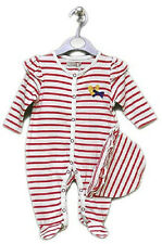 Cotton Bambino Baby Girl Red & White Striped Sleepsuit Romper & Hat Set Outfit