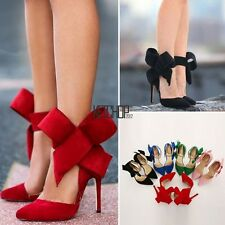 New Sexy Women's Ladies Pointy Toe High Heel Pumps Stilettos Bow Shoes KECP