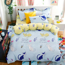 Cute Cats Single Double Queen King Size Bed Set Pillowcases Quilt Duvet Cover