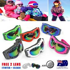 Kid Children Snow Ski Jet Ski Snowmobile Bike Goggles - Free Tinted & Clear Lens