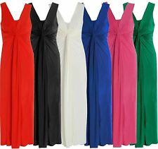 New Ladies Gorgeous Soft Twist Front Knot Long Maxi Plus Size Party Dress 16-26