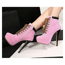 Hot Womens Ladies High Heels Shoes Platforms Ankle Lace-up Round Toe Suede Boots