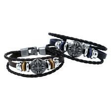 Punk Mens Boys Leather Braided Metal Studded Surfer Wristband Bracelet Bangle FS