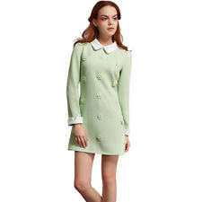 Elegant Cute Womens Peter pan Collar Slim Mix-Color Long Sleeve Dress Autumn