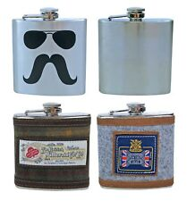 New Stainless Steel Vintage 6 oz Hip Flask for drinks,5 designs,Men's Gift,