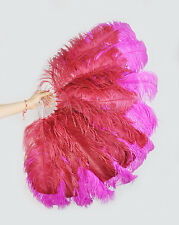 """Custom Color Small Double Layers Ostrich Feather fan 25""""x43"""" burlesque dancer"""