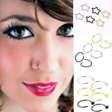 6pcs Pretty Fake Nose Ring Lip Ear Nose Clip Fake Piercing Nose Lip Hoop Earring