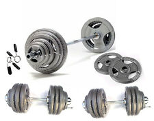 100KG Olympic Barbell/Dumbbell Tri-Grip Plate Set, Iron 2