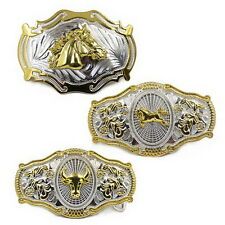 Men Vintage Metal Big Bull Horse Rider Rodeo Belt Buckle Cowboy Texas Western F