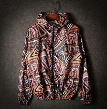 Mens Art Graffiti pattern Jacket Hooded Jacket  Long Sleeves Casual Sports coat