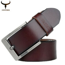 Classic Genuine Coffee Leather Pin Buckle Belt Waist Belt Waistband for Men