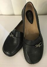 "Clarks Artisan Desdemona 2"" Heel Buckle Black/ Brown Leather Shoes 6-9 X WIDE *"