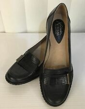 "Clarks Artisan Couture 2"" Heel Buckle Black Brown Leather Shoes 5 6 7 8 9 WIDE!"