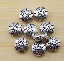 25/50/100 pcs Retro style beautiful Tibet silver alloy interval beads 10 mm