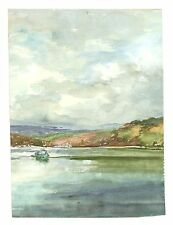 Right of Pair Unframed Spaniards Tamar Landscape Watercolour Painting M Harrison