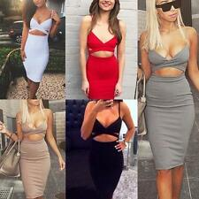 Women Clubwear Sexy Bandage Evening Party Ladies Bodycon Midi Summer Dress Slim
