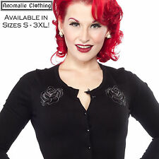 Sourpuss Black Rose Cardigan - Retro Rockabilly Goth Psychobilly Gothic Lolita