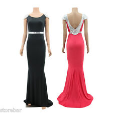 Fashion Long Sequins Dresses Formal Evening Wedding Party Ball Gown Prom Dress
