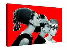 """Audrey Hepburn Triple Red 1960s ~ 30x20"""" Canvas Wall Art Picture Print Framed"""