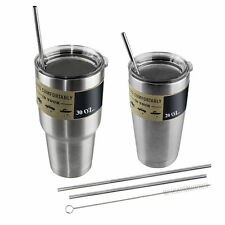 4x Stainless Steel Drinking Straws with Brush for 30/20 Oz YETI RTIC Tumbler Cup