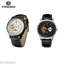Forsining New Fashion Men Leather Strap Tourbillon Automatic Mechanical Watch