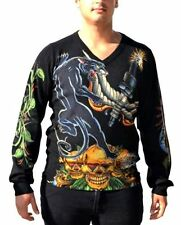 Christian Audigier Men's V-Neck Sweater, Panther, Black