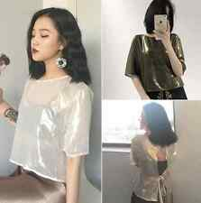 Tee retro perspective behind lace short-sleeved chiffon blouse H7019