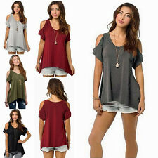 Hot Sexy Women Off Shoulder Casual Loose T-Shirt Short Sleeve Cotton Blouse Tops