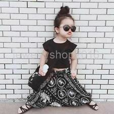 Kids Boys Girls Outfit Two Piece Suit Black Cropped Tee Boho Boggy Harem Pants