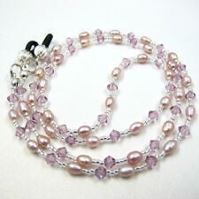 Swarovski Genuine Pearl Eyeglass Holder Cord Necklace Chain Strap Leash Lanyard