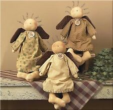 "Primitive Country Rustic 15"" Fabric  Angel ""FAITH"" , ""LOVE"" & ""HOPE"""