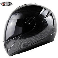 DOT Motorcycle Carbon Fiber Skull Street Full Face Dual Visor Helmet Black Bike