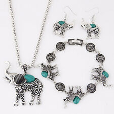 Antique Tibetan Crystal Elefant Turquoise Necklace Bracelets Earring Jewelry Set