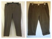 CHICO'S Womens Taupe Brown Cotton Blend Cropped Capri PANTS Size 0.5 S M