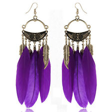 fashion feather bronze leaf chain light dangle earrings multi- color new