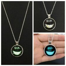 Fashion Jewelry Silver Chain Necklace Cool Devil Smile Pendant Glow in the Dark