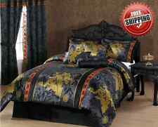 Bedding Comforter Set 7 Pc Black Palace Dragon Queen King Jacquard Asian Floral