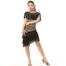 Latin Dance Dress Split Tassels Ballroom Skirt Standard Prom Dancewear