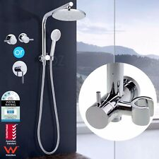 "WELS 8"" Shower Rose Diverter Wall Arm Handheld Shower Head with Mixer Tap Set"