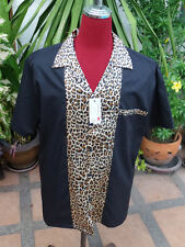Men's Rockabilly Vintage 1950's Style  Retro Bowling Shirt  Black & Leopard