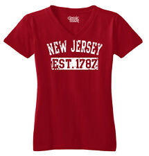 New Jersey State Printed Junior Fit Missy V-Neck T-Shirt