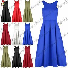 Ladies Basic Party Top Womens Flared Franki Sleeveless Pleated Skater Midi Dress