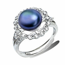 925 Sterling Silver Freshwater Cultured Pearl with Circle design white CZ Ring