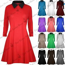 Womens Flared Jersey Long Sleeves Ladies Casual Plain Collared Swing Dress Top